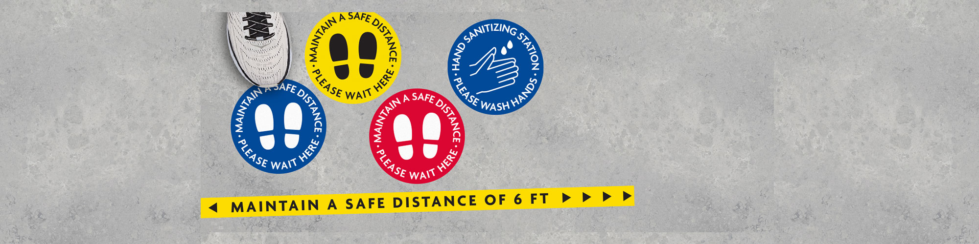 Maintain a Safe Distance Floor Decal