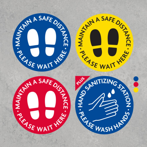 Wait Here and Sanitize Your Hands Decal Combo Pack